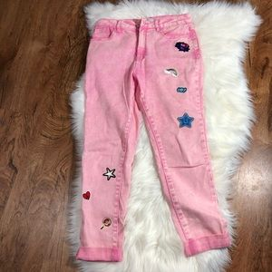 Forever 21 pink denim with patches
